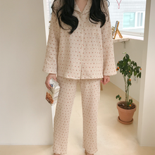 Cotton Linen Sleepwear Set Sweet Cute Cherry Print Pajamas Vintage Kawaii Notched Pocket Home Suit Shirt+Trousers Button S890