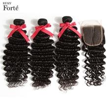 Remy Forte Deep Wave Bundles With Closure QV Virgin Human Hair 30 Inch 3/4 Brazilian Weave