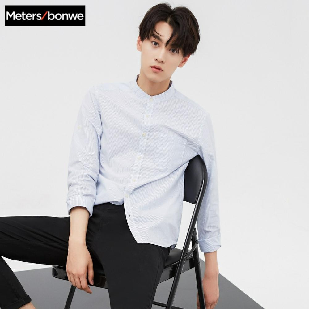 Metersbonwe Brand Men New Casual Shirts 2019 Spring Autumn Male Slim Long Sleeve Shirts Regular Cotton Male Teenager Tops