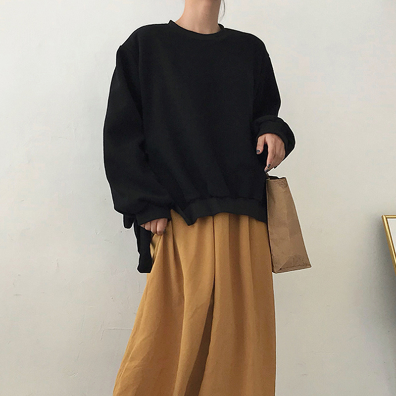 Image 5 - GALCAUR Lace Up Side Split Sweatshirts Female O Neck Lantern Long  Sleeve Warm Plus Thick Autumn Womens Sweatshirt Fashion 2020Hoodies