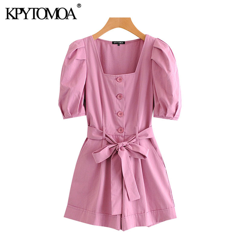 KPYTOMOA Women 2020 Chic Fashion With Belt Button-up Playsuits Vintage Square Collar Puff Sleeves Female Short Jumpsuits Mujer