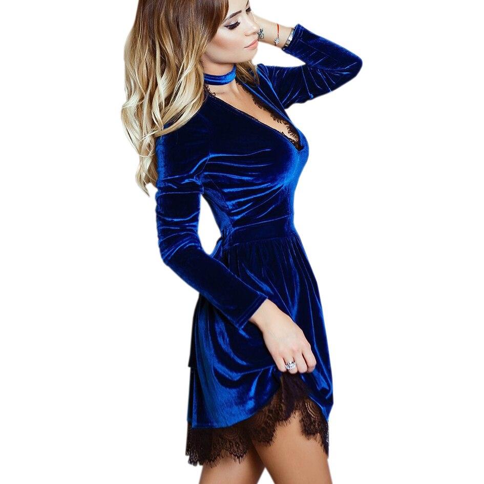 New Fashion Party Dress Halter Deep V-Neck Women Lace Velvet Dress Long Sleeve Sexy Casual Mini Velour Party Dress  GV500