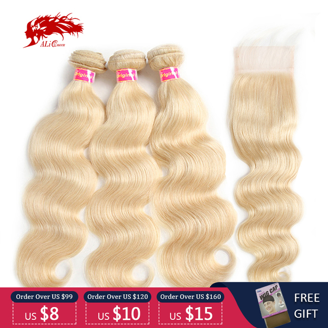 $ US $94.47 Brazilian Body Wave Remy Hair 3 Bundles With Lace Closure 4x4 Free/Middle Part #613/#33/#30/#27/#99J/#Burg Ali Queen Hair