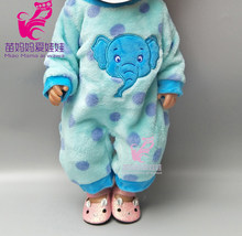Fits for 43cm baby doll Blue and Pink elephant jumpsuit coat sets 18 inch girl doll clothes children gifts(China)