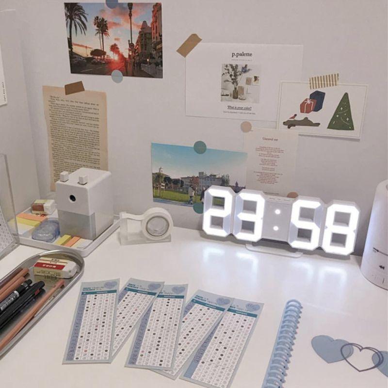 Nordic digital relógios de parede pendurado relógio snooze função relógio de mesa calendário termômetro exibição escritório relógio eletrônico