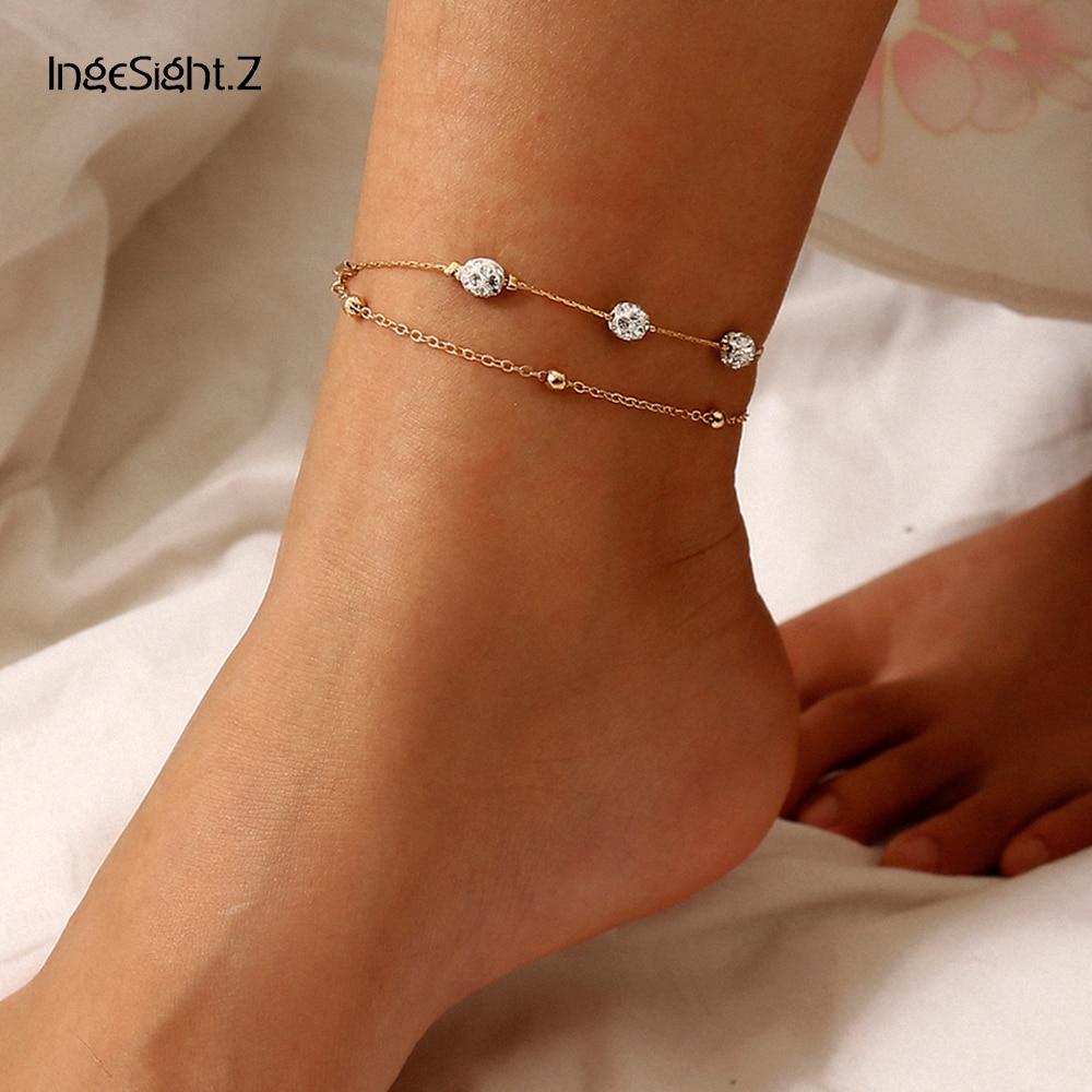 IngeSight.Z Korean Multilayer Crystal Ball Anklet Bracelet Bohemian Summer Beaded Anklet Barefoot Sandals On Foot Ankle Jewelry