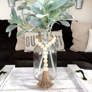 Drewniana girlanda z koralików z frędzlami z juty ręcznie robiony różaniec rustykalny wiejski ozdoba do powieszenia na ścianie tanie i dobre opinie PLANT Europa Wikliny