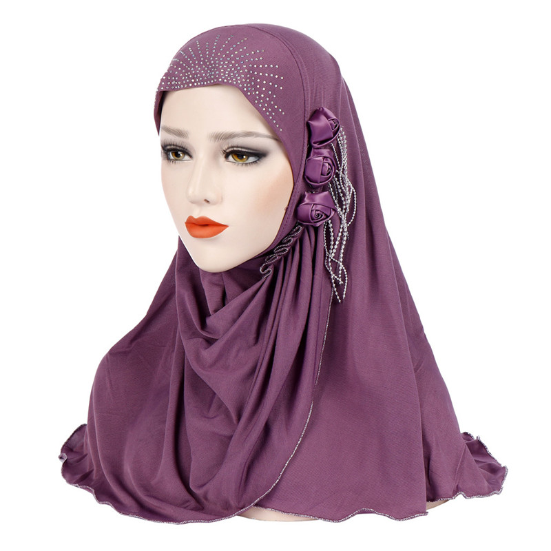 2020 Malaysia Muslim Hijab Scarf Solid Cotton Flower Diamond Shawl Women Headscarf Ready To Wear Hijab Musulman Femme Foulard