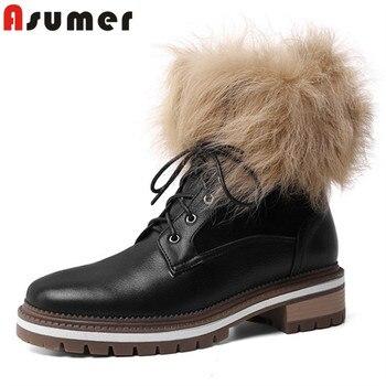 Asumer 2020, zapatos de cuero genuino de alta calidad, botas de invierno para mujer, punta redonda con cordones, tacón cuadrado, botas cómodas a la altura de los tobillos, mujer