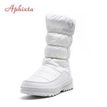 APHIXTA Mid-calf Thick fur Winter Snow Boots Women Warm Zipper Snow BootS Woman Zip Crystal Platform Plaush Furry Shoes Women цена