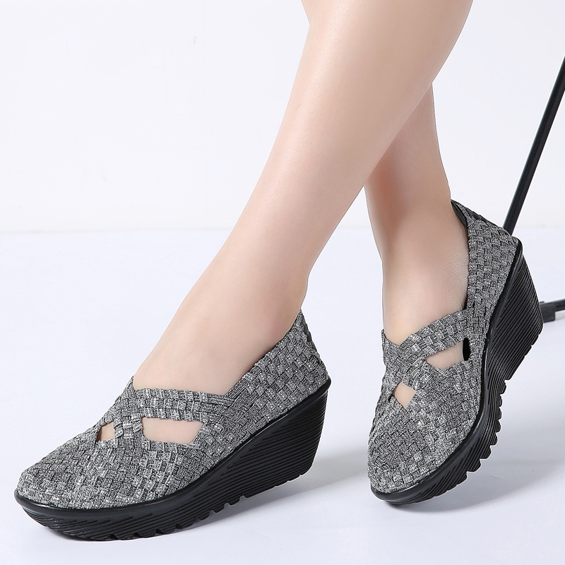 save off great fit offer discounts TKN 2019 Summer women woven platform shoes slip on casual hand ...