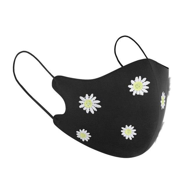 New Arrivals 2020 Washable Reusable Daisy Crane Pattern Face Mask 3D Cloth Dust proof Women Men Mouth Masks Unisex Korean 5