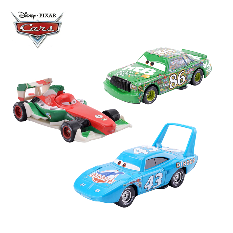 Disney Pixar Cars 3 Cars Lightning McQueen Francesco The King Chick Hicks Mater 1:55 Diecast Metal Alloy Toy Car Model Kids Gift