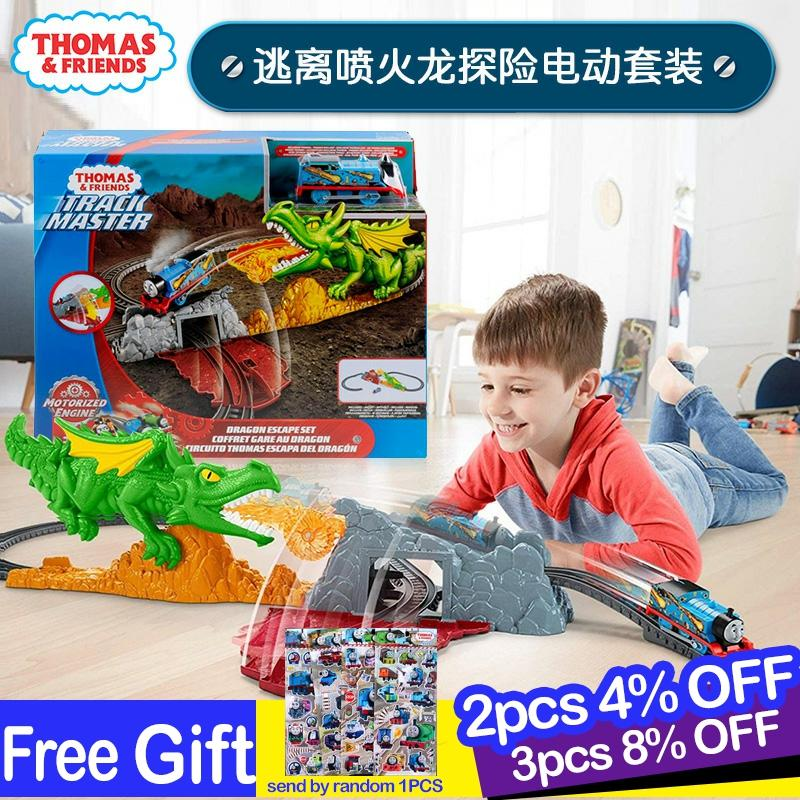 Original Thomas And Friends Electric Locomotive Track Master Series Escape Fire-breathing Dragon Adventure Toys For Children