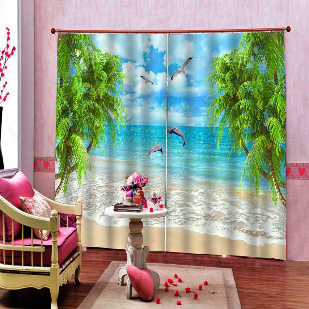 Tende Per La Camera Da Letto Blackout Tende del Soggiorno paesaggio spiaggia di Spessore delfino albero Tende Moderno Tende Della Cucina - 2