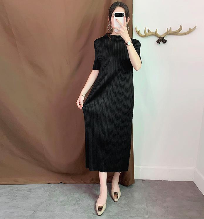 Miyake robe plissée longue section mince tempérament plissé automne fond robes de grande taille femme livraison gratuite