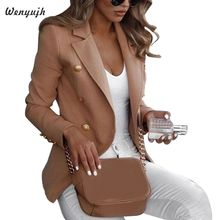 цена Women Long Sleeve Formal Blazer Jackets Cardigan Office Work Lady Notched Slim Fit Suit Business Autumn New Outerwear Tops