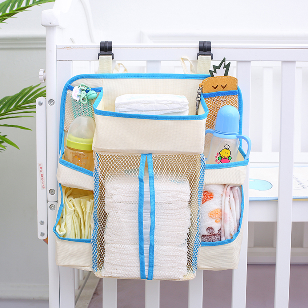 Baby Bed Hanging Storage Bag Toy Portable Waterproof  Bedside Table Baby Bedding Diaper Bag Multi-layered Zipper Grid Organizer
