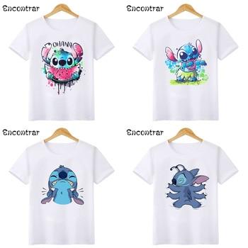 Cute Lilo Stitch OHANA Kids T-shirts Baby Boys/Girls Cartoon Funny White T shirt Children Summer Short Sleeve Tops,HKP5362