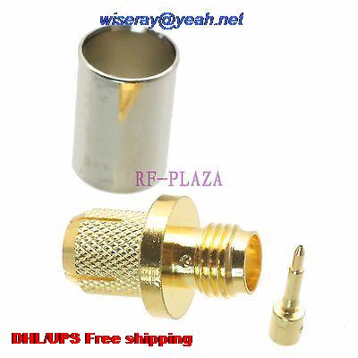 DHL/EMS 200pcs Connector RPSMA Female Plug Crimp RG5 RG6 LMR300 RG304 Cable Straight -A3