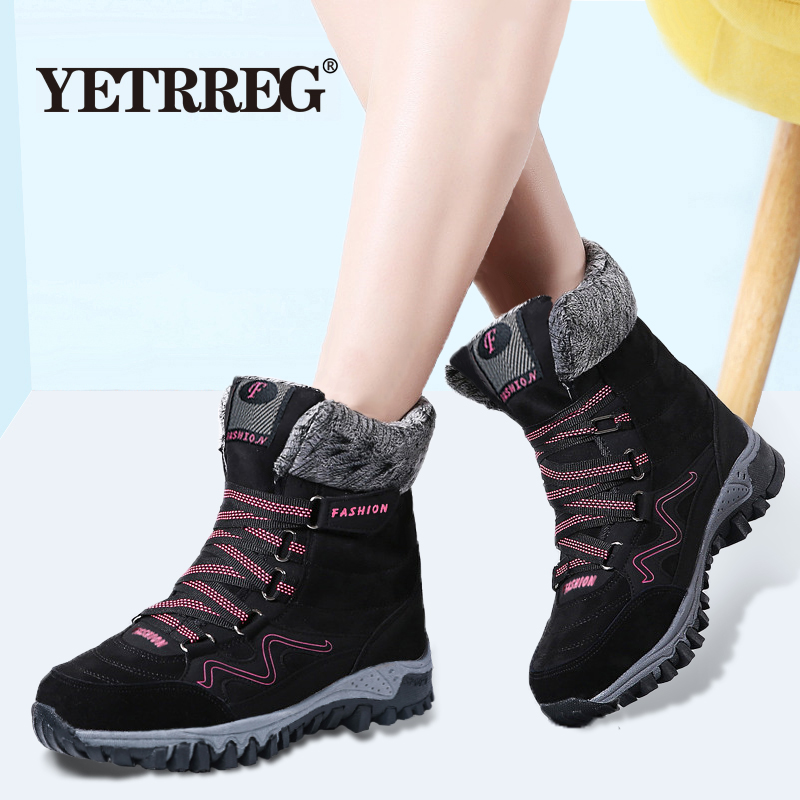 New Arrival Fashion Suede Leather Women Snow Boots Winter Warm Plush Women's boots Waterproof Ankle Boots Flat shoes 35-42 59