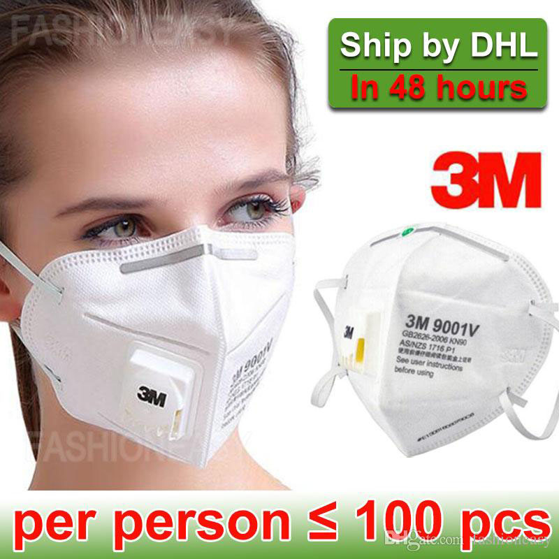 10pcs/Bag 3M 9001V Face Mask With Filter Respirator Face Mask FFP3 Safety Breathing 3M Mask FFP2 DHL Free In Stock
