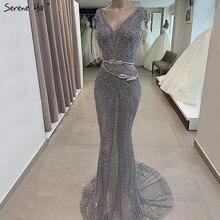 Dubai Grey Luxury Mermaid Design Evening Dresses V Neck Crystal  Beading Formal Dress 2020 Serene Hill LA60916