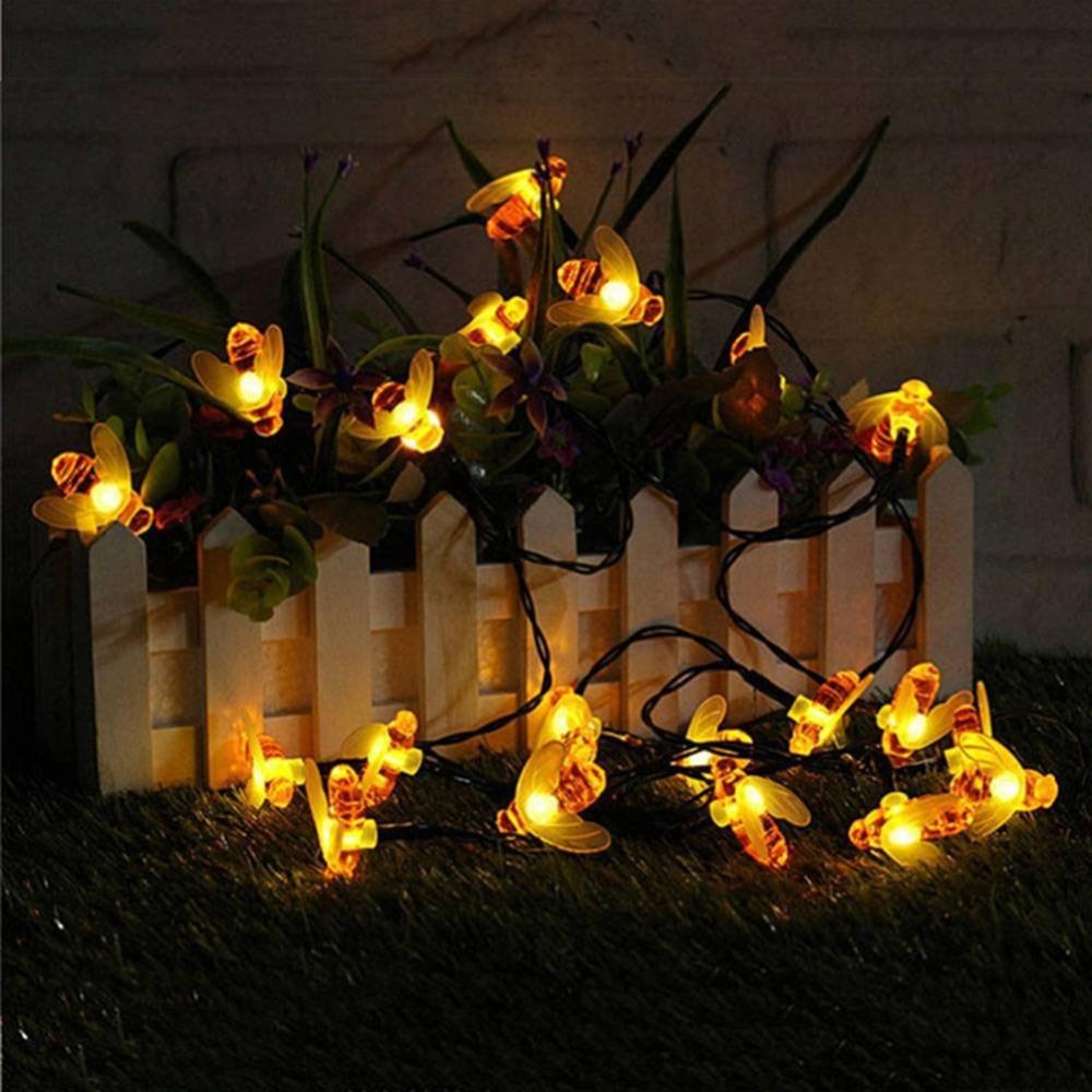 New Solar Powered Cute Honey Bee Led String Fairy Light 10leds 20leds Bee Outdoor Garden Fence Patio Christmas Garland Lights