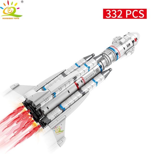 HUIQIBAO 332pcs Wandering Earth Launch Shuttle Rocket Building Blocks City Space astronaut Construction Bricks Toy For Children