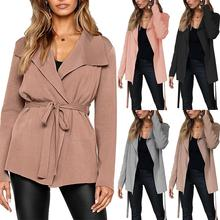 Fashion Autumn Women Trench Coat Solid Color Lapel Long Sleeve Belted Cardigan Windbreaker Coat lapel collar adjustable sleeve trench coat