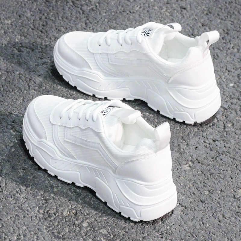 Rahat ayakkabılar kadın tıknaz Sneakers moda baba ayakkabı kadınlar için bahar sonbahar beyaz siyah ayakkabı tıknaz ayakkabı vulkanize ayakkabı