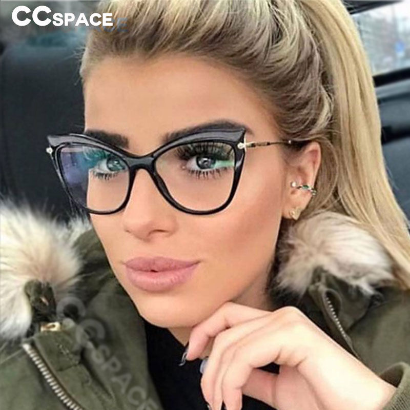 CCSPACE 45532 Ladies Cat Eye Sexy Glasses Frames Men Women Brand Designer Optical EyeGlasses Fashion Eyewear Computer Glasses