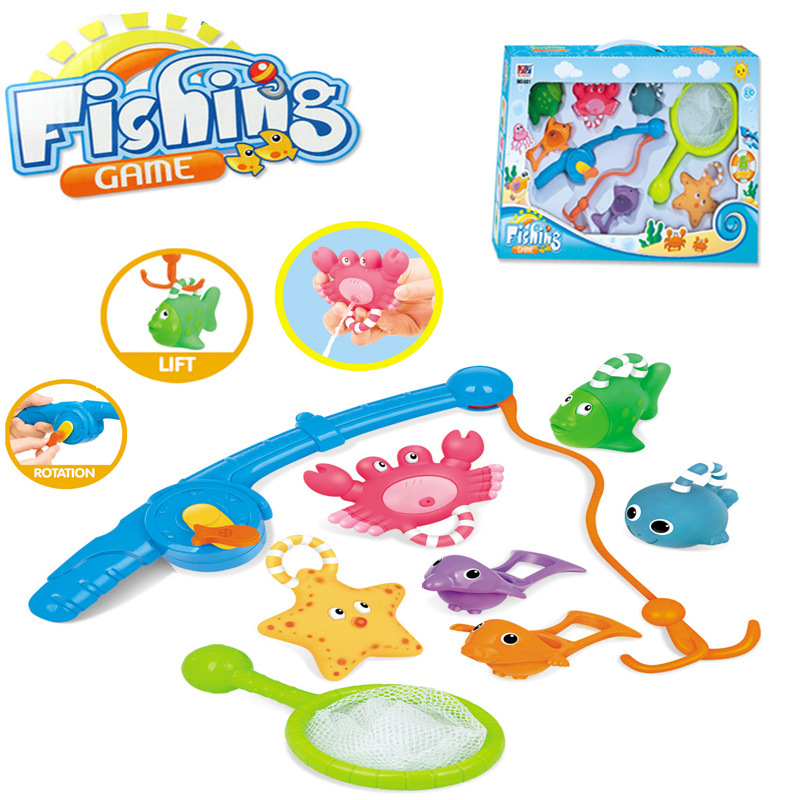 Children Bathing Fishing Toy Baby Soft Rubber Animals Water Tub Toy Fishing Game Squirts Spoon-Net Kids Educational Toys