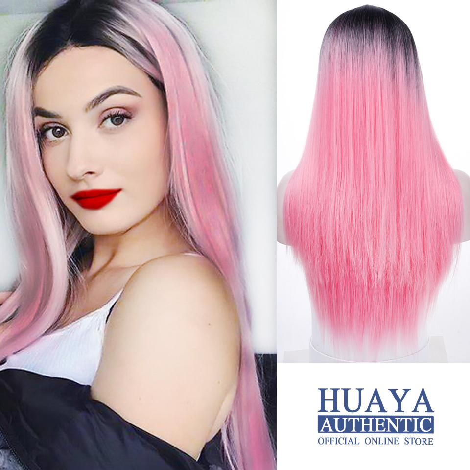 HUAYA Long Straight Wig Black Dark Root Ombre Pink Heat Resistant Fiber Syntheti Wig Women Daily Party Or Cosplay False Hair