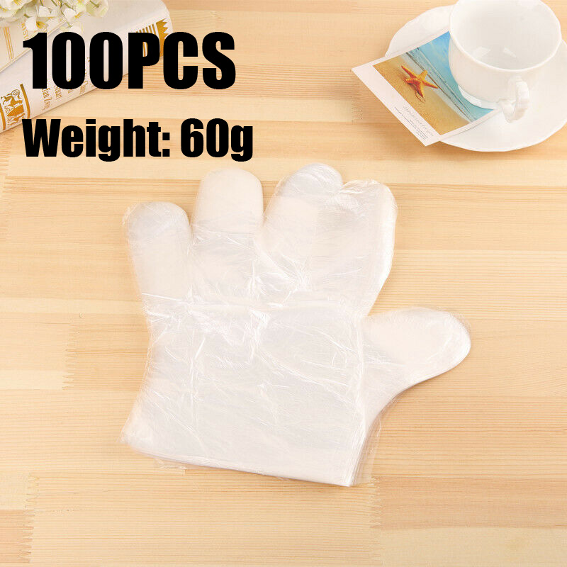 60g 100PCS Disposable Gloves Hairdressers Food Salon Beauty Medical Safe Quality One-off Plastic Cleaning Kitchen BBQ
