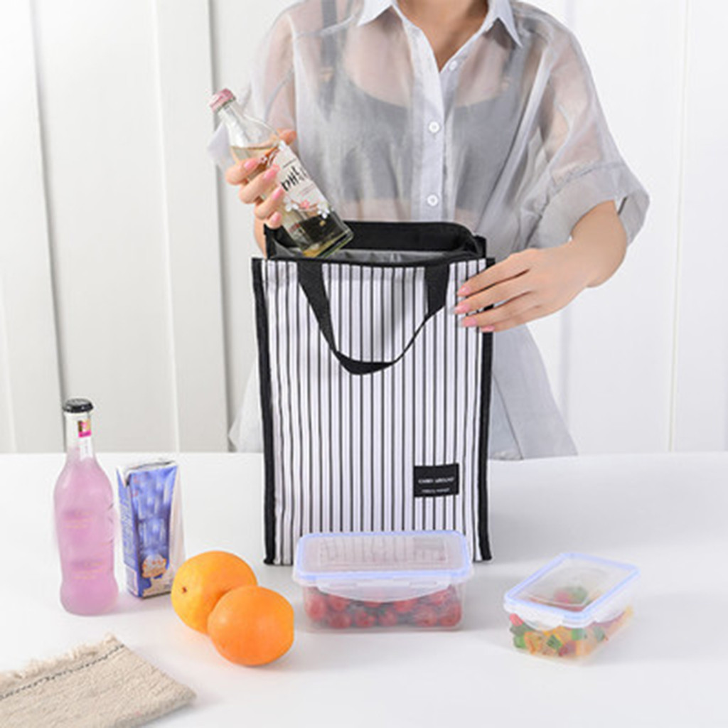Simple Picnic Lunch Bag Insulated Thermal Food Storage Bag Portable Waterproof Oxford Cloth Travel Working Bento Box zipper Bags