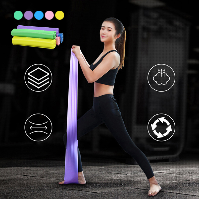 1.5M Elastic Resistance Bands Yoga Pilates Rubber Stretch Strap Elastic Sports Band Exercise Strap Fitness Gym Workout Equipment