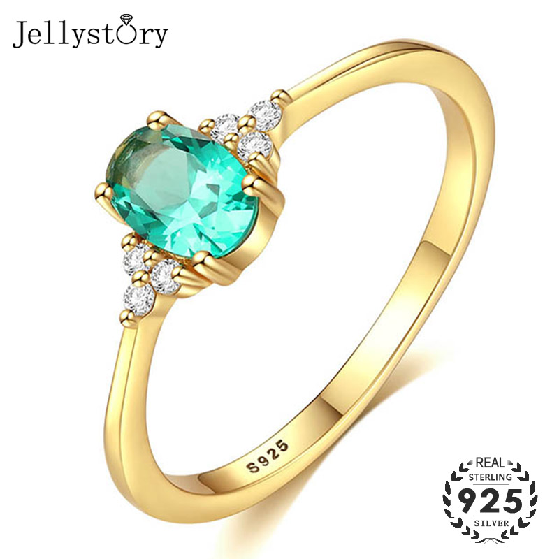 Jellystory Fashion Silver 925 Jewelry Rings with Oval Shape Emerald Zircon Gemstone Ring for Women Wedding Party Gift Gold color