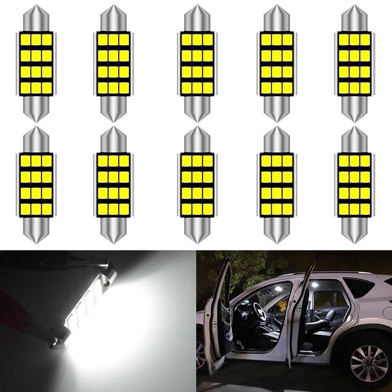 10x C5W LED C10W led CanBus bulb Festoon 31mm 36mm 39mm 42mm SMD2835 Led Interior light Festoon Reading Dome License 6000K White