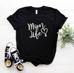Женская футболка с принтом сердца и буквы «Мама Жизнь», хлопковая Повседневная забавная Футболка для леди и девочки, 6 цветов, Прямая постав...
