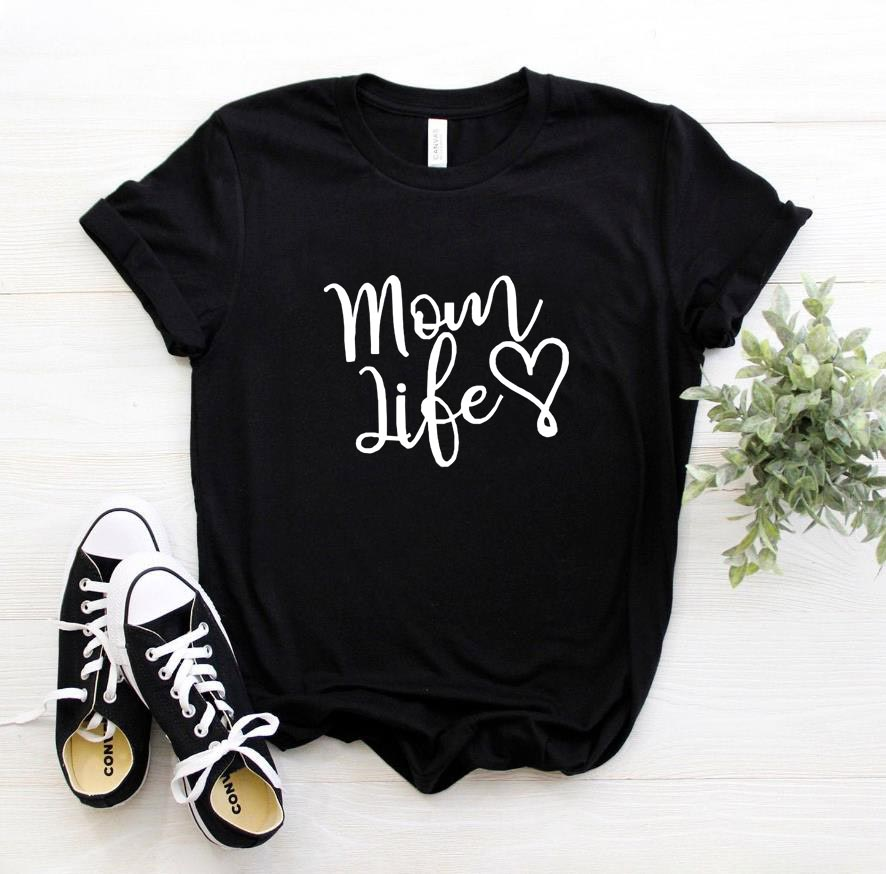 Mom Life Heart Letters Print Women Tshirt Cotton Casual Funny T Shirt For Lady Girl Top Tee 6 Colors Drop Ship SB-11