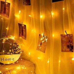 5 м 10 фото клип USB гирлянда гирлянды светодиодные гирлянда Новое поступление на Новый год вечерние свадебные настенный Рождественский Декор для дома, осветительный прибор Светодиодная лента      АлиЭкспресс
