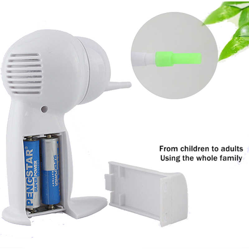 Listrik Aman Earpick Telinga Wax Cleaner Tanpa Rasa Sakit Vacuum Perawatan Kesehatan Putih Alat dengan Sikat