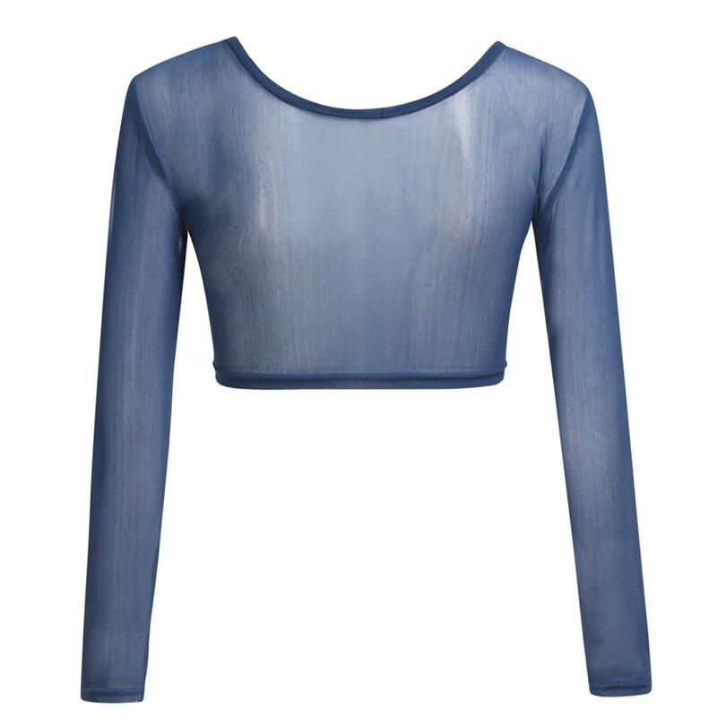 Womens Both Side Wear Sheer Seamless Arm Shaper Crop Tops Mesh Shirt Blouses USA