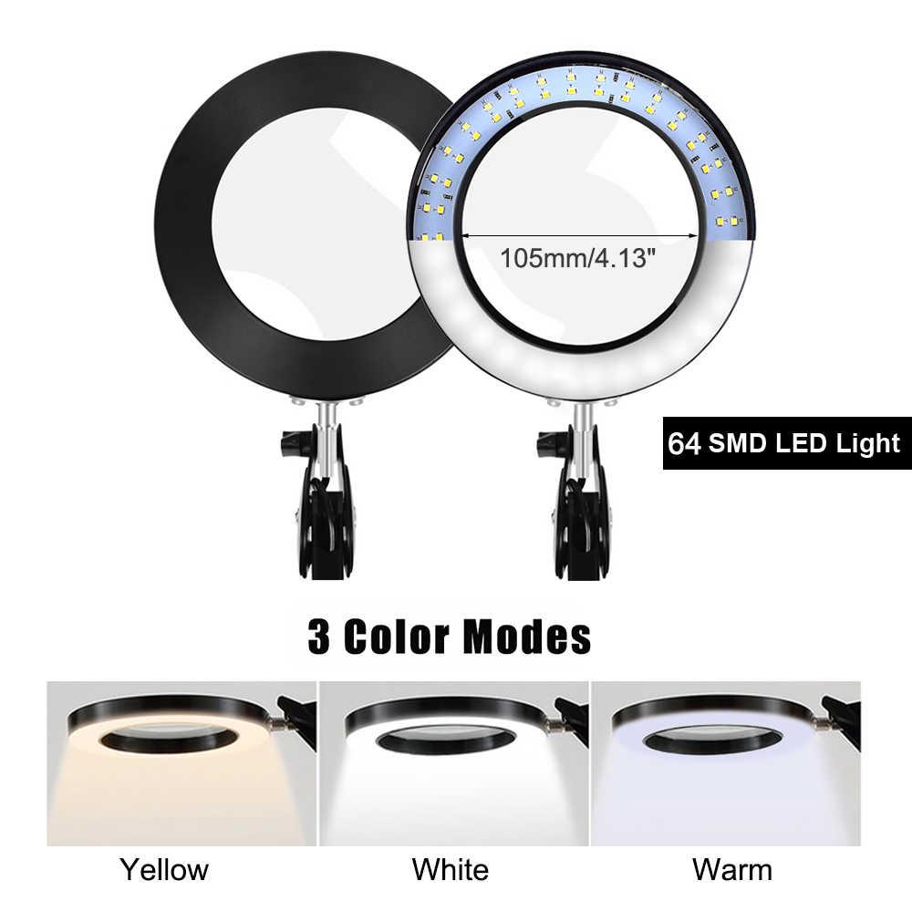 NEWACALOX, lupa iluminada USB 5X, de 3 colores lámpara de escritorio, lupa de soldadura de vidrio de aumento, herramienta de tercera mano, lupa de lectura Flexible
