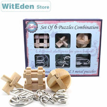 цена на Wooden Puzzles mix 3D Metal Puzzles 6PCS/Set Combination Kong Ming Lock Wire Intelligence Buckle Interlocked IQ Collection Toys