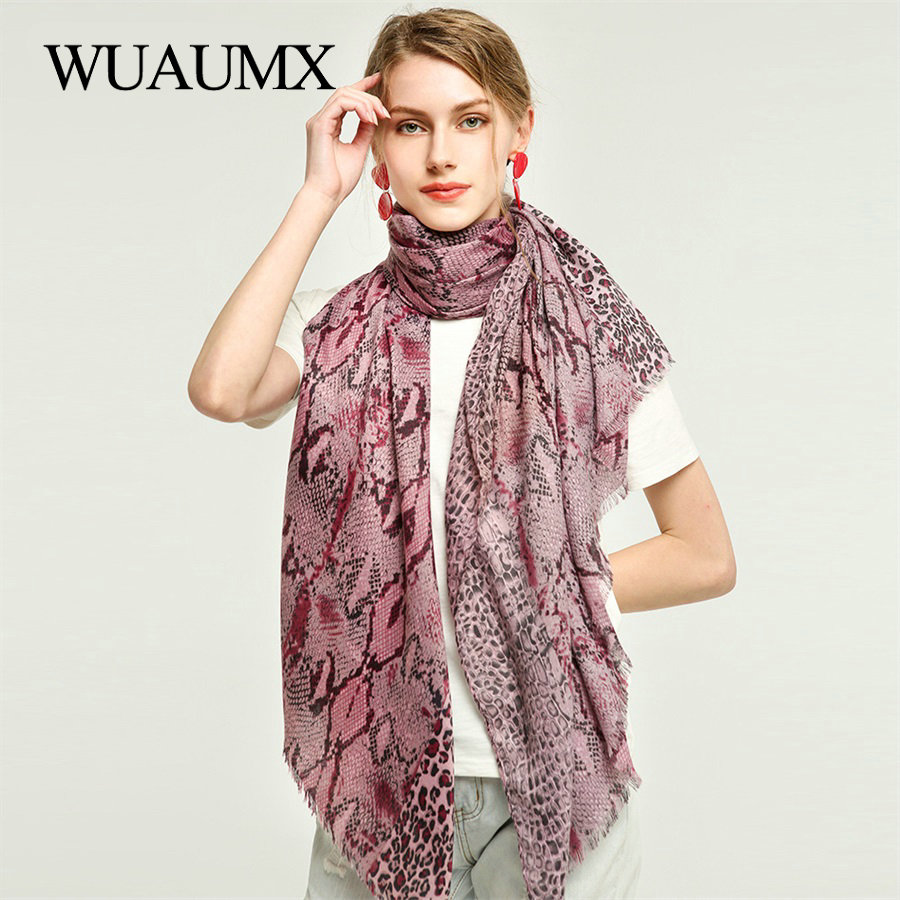 Wuaumx NEW Autumn Winter Scarf For Women Snake Pattern Scarves Fashion Ladies Sjaal Cotton Viscose Shawl Muffler 180*90cm