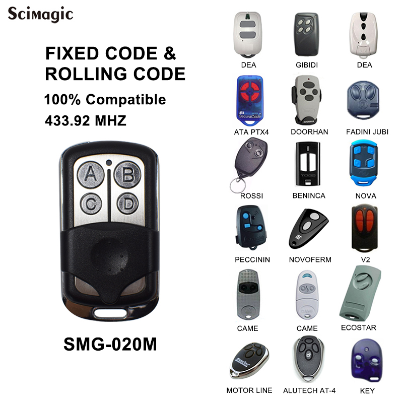 Scimagic 433MHZ Remote Control For ALUTECH AT-4 / ATA PTX-4 / MOTORLINE / BENINCA / DOORHAN / FADINI / FADINI JUBI Garage Door