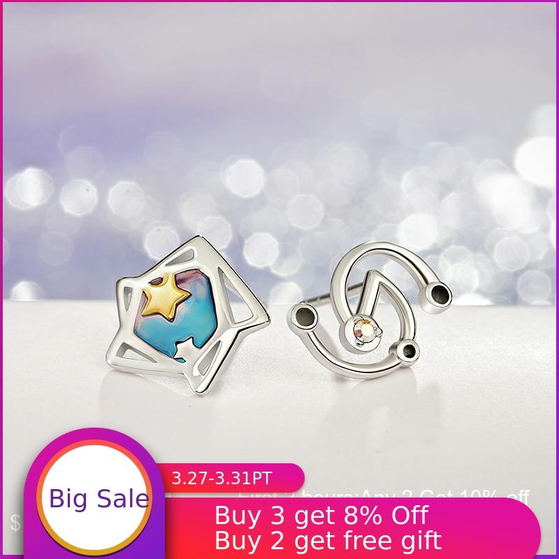 Thaya Star Trek Gradient Colour Earring Asymmetrical S925 Silver Pendant Necklace For Women Original Design Jewelry Gift