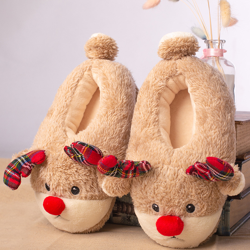 Suihyung Boy Girl Home Slippers Winter Warm Indoor Furry Shoes Kids Cartoon Slippers Plush Animal Cotton Shoes Choldren Slip On